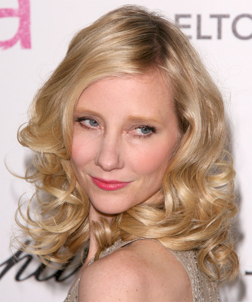 Anne Heche Medium Wavy Formal    Hairstyle   - Medium Golden Blonde Hair Color with Light Blonde Highlights - Side on View