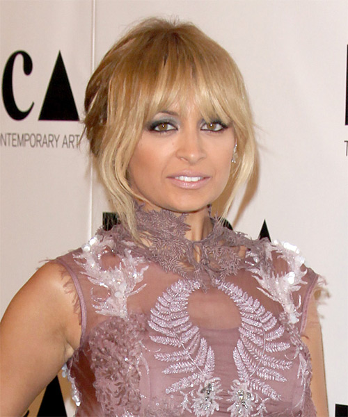 Nicole Richie  Long Straight    Golden Blonde  Updo  with Blunt Cut Bangs  and Light Blonde Highlights - Side on View