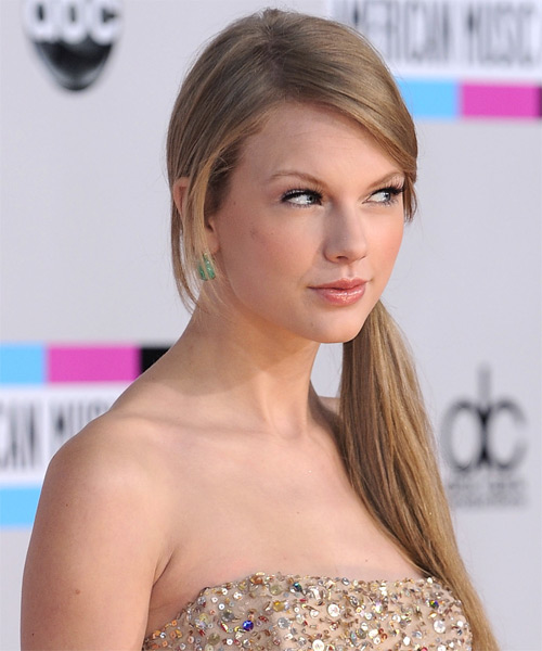Taylor Swift  Long Straight    Champagne Blonde  Updo    - Side on View
