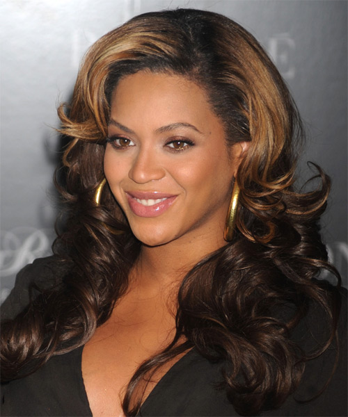 Beyonce Knowles Long Wavy Formal    Hairstyle   - Dark Brunette and Dark Blonde Two-Tone Hair Color - Side on View