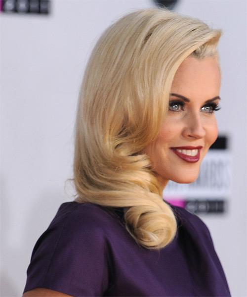 Jenny McCarthy Long Wavy Formal    Hairstyle   - Light Golden Blonde Hair Color - Side on View