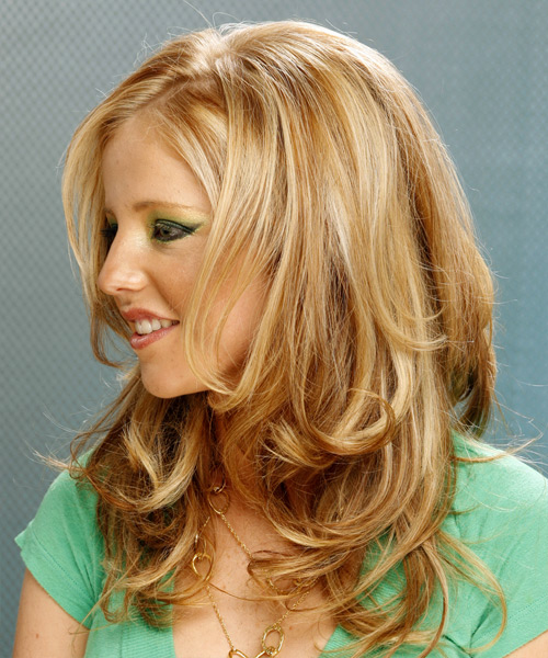 Long Wavy Formal   Hairstyle   - Medium Blonde (Golden) - Side on View