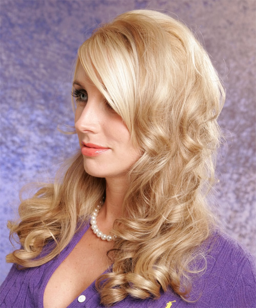 Long Curly   Golden  Half Up Hairstyle   - Side on View