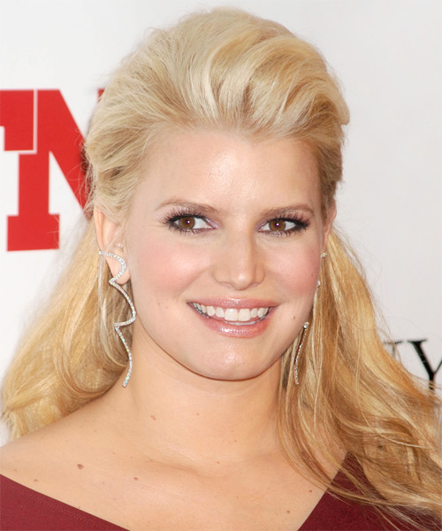 Jessica Simpson  Long Straight Casual   Half Up Hairstyle   -  Golden Blonde Hair Color with Light Blonde Highlights - Side on View