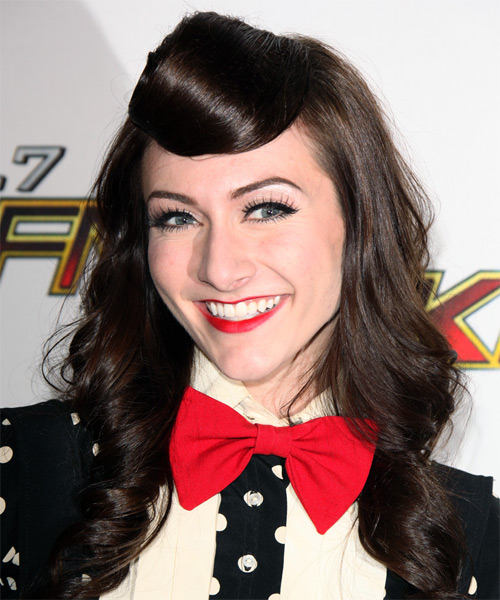 Amy Heidemann Half Up Long Curly Formal  Half Up Hairstyle   - Dark Brunette - Side on View