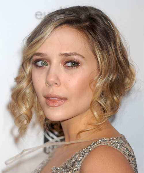 Elizabeth Olsen  Medium Curly Formal   Updo Hairstyle   - Dark Blonde Hair Color with Light Blonde Highlights - Side on View