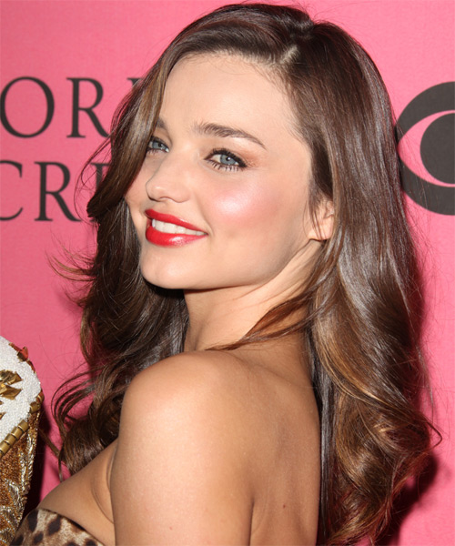 Miranda Kerr Long Wavy Formal   Hairstyle   - Medium Brunette (Chocolate) - Side on View