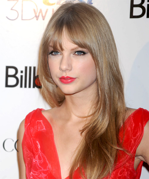 Taylor Swift Long Straight Formal   Hairstyle with Blunt Cut Bangs  - Light Brunette (Caramel) - Side on View
