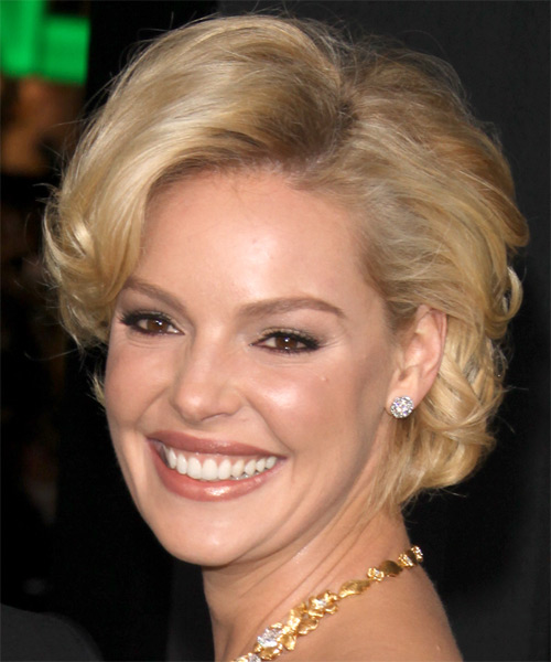 Katherine Heigl Short Wavy Formal   Hairstyle   - Medium Brunette (Golden) - Side on View