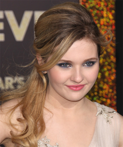 Abigail Breslin  Long Straight Casual   Half Up Hairstyle with Side Swept Bangs  - Dark Blonde Hair Color with Light Blonde Highlights - Side on View