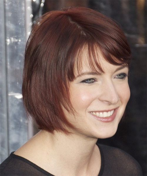 Diablo Cody Short Straight   Dark Plum Red Bob  Haircut with Layered Bangs  - Side on View