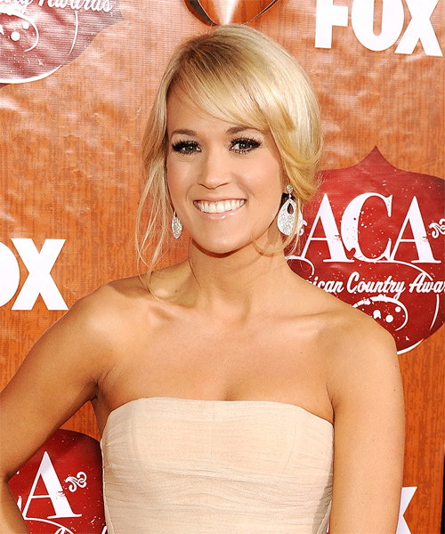 Carrie Underwood  Long Straight Formal   Updo Hairstyle with Side Swept Bangs  - Light Honey Blonde Hair Color with Light Blonde Highlights - Side on View