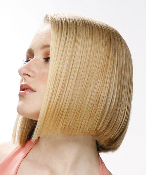 Medium Straight    Honey Blonde   Hairstyle   - Side on View