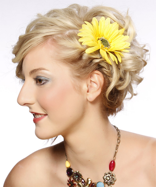 Medium Curly Formal   Updo Hairstyle   - Light Golden Blonde Hair Color with Light Blonde Highlights - Side on View