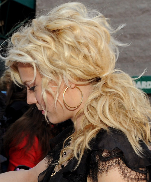 Kimberly Perry Half Up Long Curly Casual  Half Up Hairstyle   - Light Blonde (Golden) - Side on View