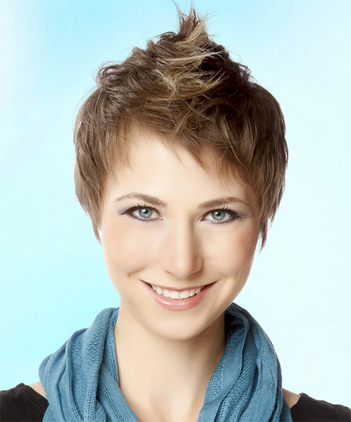 Layered  Light Brunette Pixie  Cut with Layered Bangs  and Light Blonde Highlights - Side on View