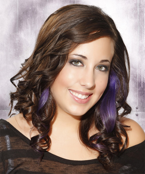 Long Curly Formal Emo  Hairstyle   - Medium Brunette - Side on View