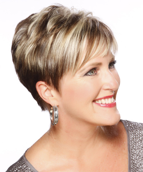 Short Straight Formal    Hairstyle with Layered Bangs  - Light Brunette Hair Color with Light Blonde Highlights - Side on View