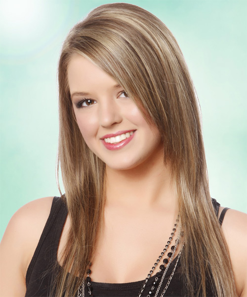 Long Straight Casual   Hairstyle   - Medium Blonde (Champagne) - Side on View