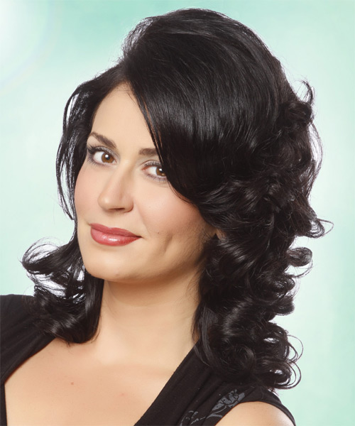 Medium Wavy Formal    Hairstyle   - Black  Hair Color - Side on View