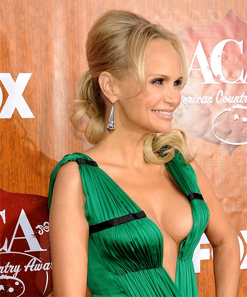 Kristin Chenoweth  Long Straight Formal   Updo Hairstyle   - Light Golden Blonde Hair Color with Light Blonde Highlights - Side on View
