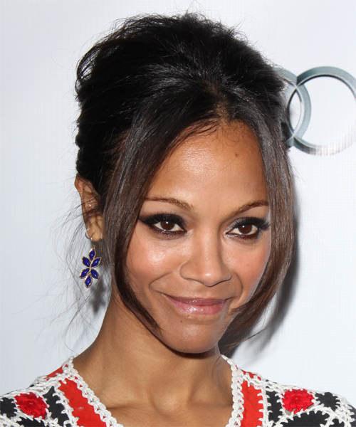 Zoe Saldana  Long Straight Formal   Updo Hairstyle   - Dark Brunette Hair Color - Side on View