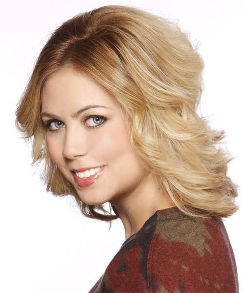 Medium Straight Formal   Hairstyle   - Medium Blonde (Golden) - Side on View