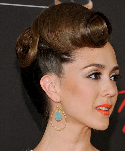Christina Bennett Lind  Long Curly Formal   Updo Hairstyle   - Dark Ash Brunette Hair Color - Side on View