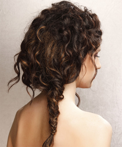 Long Curly   Dark Brunette  Updo    - Side on View