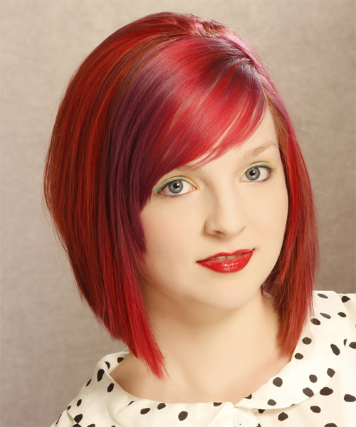 Medium Straight Casual Bob  Hairstyle with Side Swept Bangs  - Medium Red (Bright) - Side on View