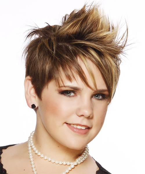 Short Straight Alternative Mohawk  Hairstyle with Side Swept Bangs  - Medium Brunette (Caramel) - Side on View