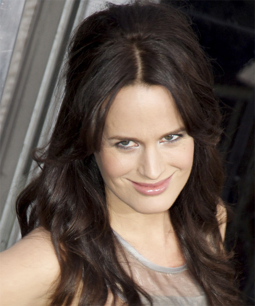 Elizabeth Reaser Half Up Long Curly Casual  Half Up Hairstyle   - Dark Brunette (Mocha) - Side on View