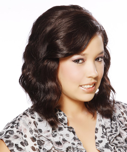 Medium Wavy Casual    Hairstyle   - Dark Brunette Hair Color - Side on View