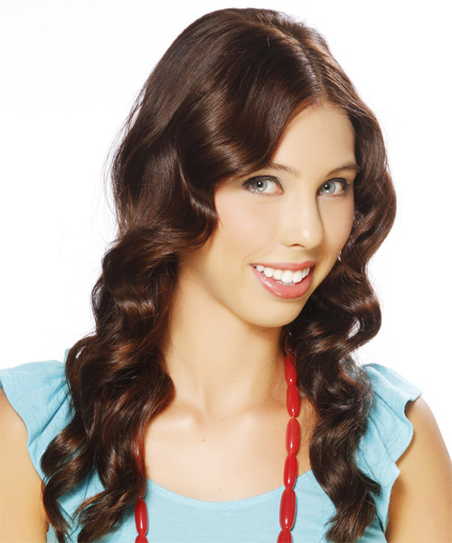Long Wavy Formal   Hairstyle   - Dark Brunette - Side on View
