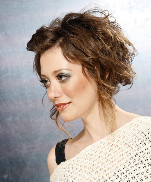 Updo Long Curly Formal  Updo Hairstyle   - Medium Brunette (Ash) - Side on View