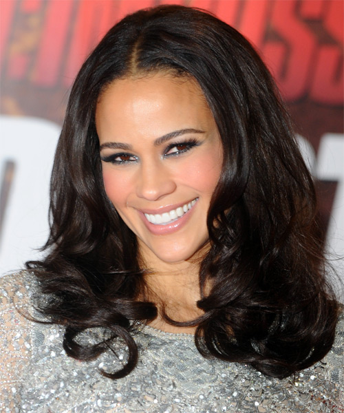 Paula Patton Long Wavy Formal   Hairstyle   - Black - Side on View