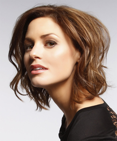 Short Wavy    Chocolate Brunette   Hairstyle   - Side on View
