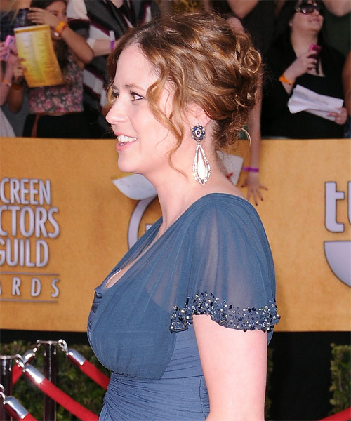 Jenna Fischer  Long Curly Formal   Updo Hairstyle   - Medium Burgundy Brunette Hair Color with Medium Red Highlights - Side on View