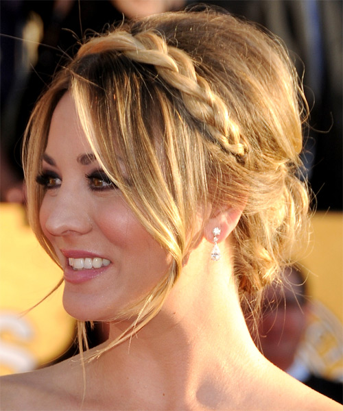 Kaley Cuoco  Long Straight Formal   Updo Hairstyle   - Medium Ash Blonde Hair Color with Light Blonde Highlights - Side on View
