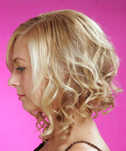 Long Wavy Formal   Hairstyle   - Light Blonde (Golden) - Side on View