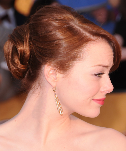 Emma Stone  Long Straight Formal   Updo Hairstyle with Side Swept Bangs  -  Ginger Red Hair Color - Side on View