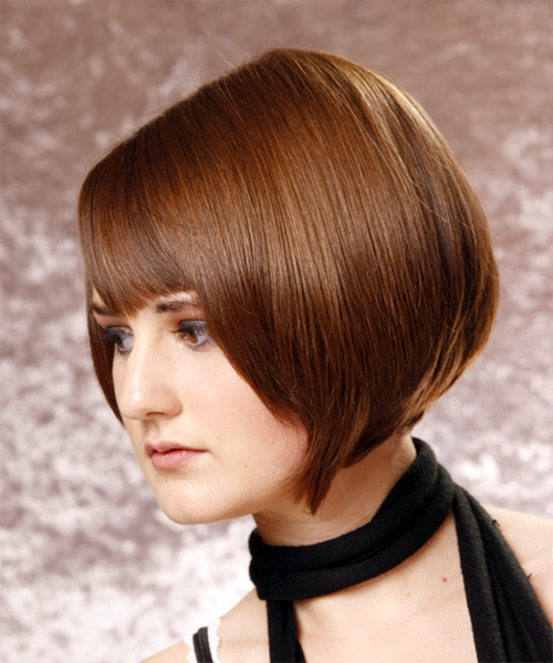 Short Straight   Chestnut Bob  Haircut   - Side on View