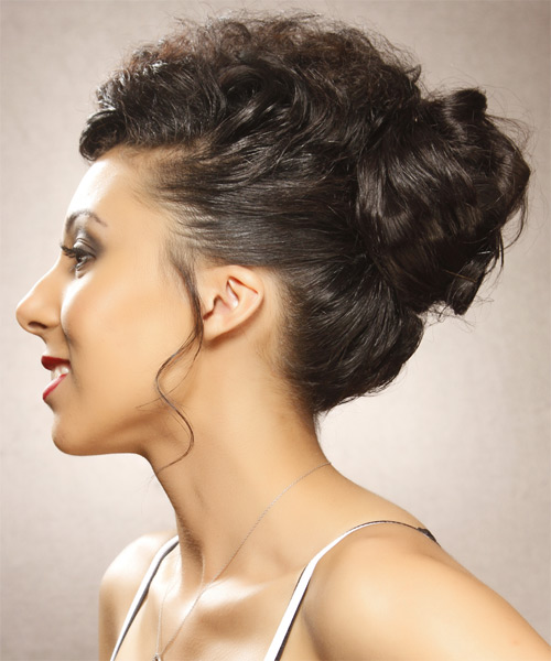 Long Curly Formal   Updo Hairstyle   - Mocha Hair Color - Side on View
