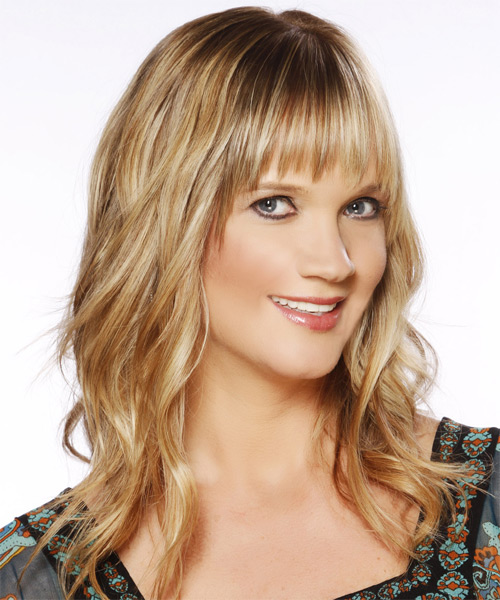 Long Wavy Casual   Hairstyle with Layered Bangs  - Medium Blonde (Golden) - Side on View