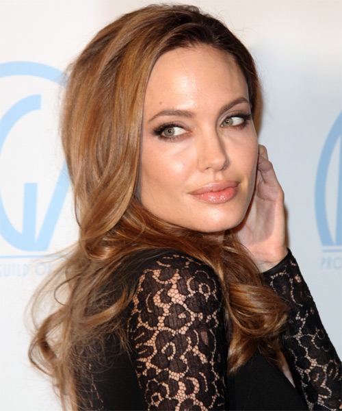 Angelina Jolie Long Wavy Casual   Hairstyle   - Medium Brunette (Chocolate) - Side on View