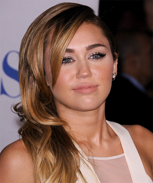 Miley Cyrus Long Straight Formal    Hairstyle   -  Caramel Brunette Hair Color with  Blonde Highlights - Side on View