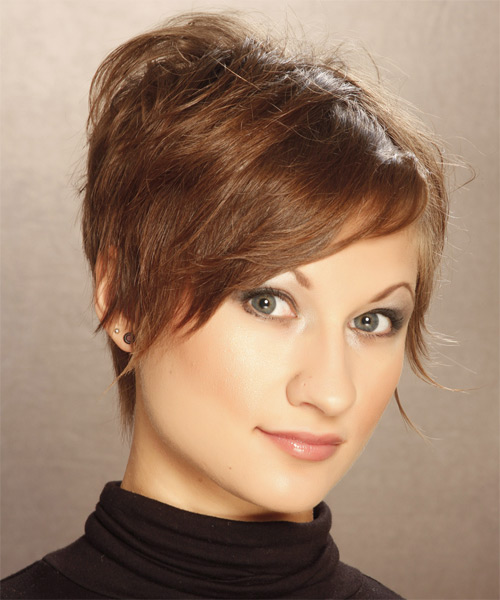 Short Straight   Light Caramel Brunette   Hairstyle   - Side on View