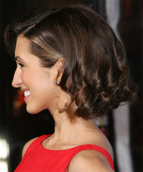 India de Beaufort  Medium Wavy Formal   Hairstyle   - Dark Brunette - Side on View