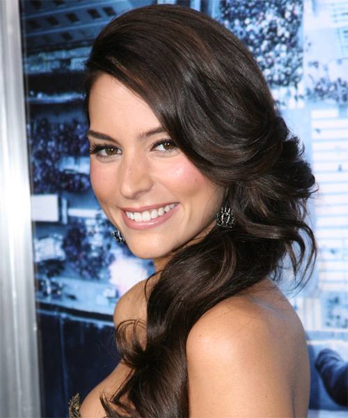 Genesis Rodriguez Long Wavy Formal   Hairstyle   - Dark Brunette (Mocha) - Side on View
