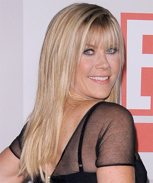 Alison Sweeney Long Straight Formal   Hairstyle with Blunt Cut Bangs  - Medium Blonde (Honey) - Side on View